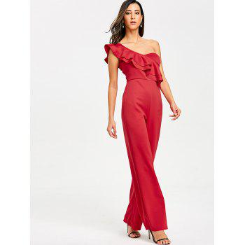 One Shoulder Flounce Wide Leg Jumpsuit - RED L