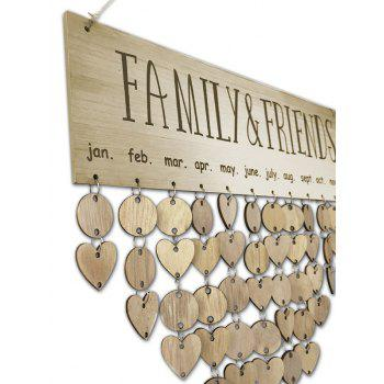 Wooden DIY Family and Friends Birthday Reminder Hanging Plaque Calendar - GOLDEN