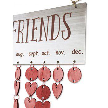 Wooden DIY Family and Friends Birthday Reminder Hanging Plaque Calendar - RED