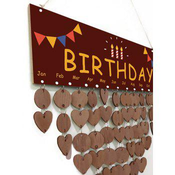 DIY Decoration Birthday Reminder Hanging Calendar Board - LIGHT COFFEE