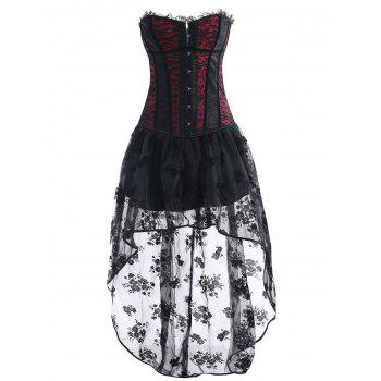 High Low Asymmetric Corset Vintage Dress - WINE RED WINE RED