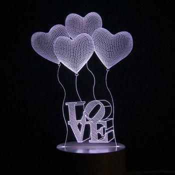 Mother's Day Heart Balloon Love Letter Design USB Charging LED Touch Night Light - TRANSPARENT