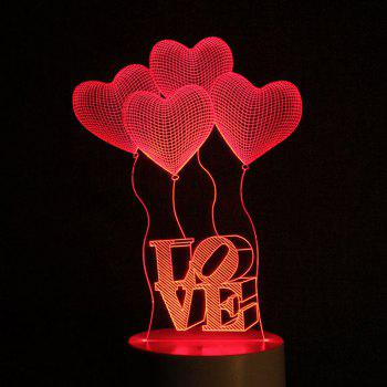 Heart Balloon Love Letter Design USB Charging LED Touch Night Light