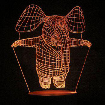 Jumping Elephant Pattern Touch Switch 3D Night Light - TRANSPARENT