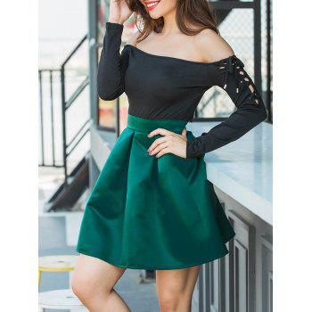 Flare Mini Skirt - GREEN S