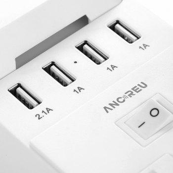 ANCREU Power Strip with 4 USB Ports and 2 Outlets - WHITE US