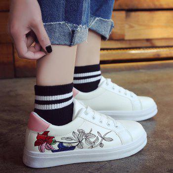 Flower Embroidered PU Leather Skate Shoes - PINK 40