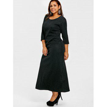 Glitter Scoop Neck Plus Size Maxi Dress - BLACK 2XL