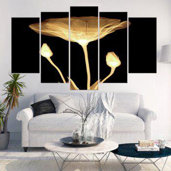 Transparent Lotus Print Unframed Wall Art Canvas Paintings - BLACK/GOLDEN 1PC:12*31,2PCS:12*16,2PCS:12*24 INCH( NO FRAME )