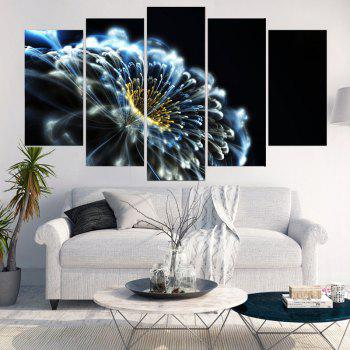 Dreamy Opening Flower Printed Split Wall Art Canvas Paintings - BLUE/BLACK/YELLOW 1PC:12*31,2PCS:12*16,2PCS:12*24 INCH( NO FRAME )