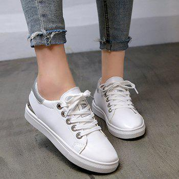 Faux Leather Color Blocking Skate Shoes - SILVER 40
