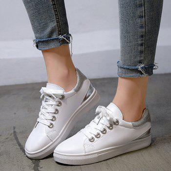 Faux Leather Color Blocking Skate Shoes - SILVER 36