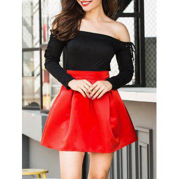 Flare Mini Skirt - BRIGHT RED S