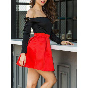Flare Mini Skirt - BRIGHT RED BRIGHT RED