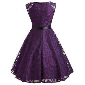 Lace Overlay V Neck Belted Dress - PURPLE M