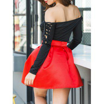 Flare Mini Skirt - BRIGHT RED XL