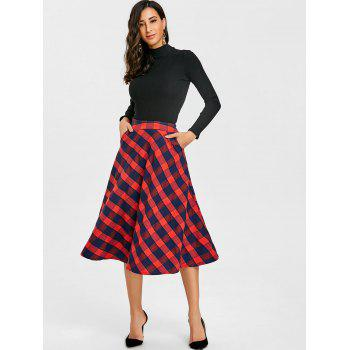 Plaid A-line Midi Skirt - RED RED