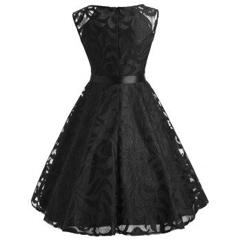 Lace Overlay V Neck Belted Dress - BLACK S