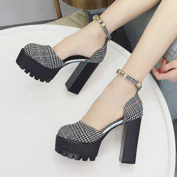 Ankle Strap High Chunky Heel Pumps - BLACK 34