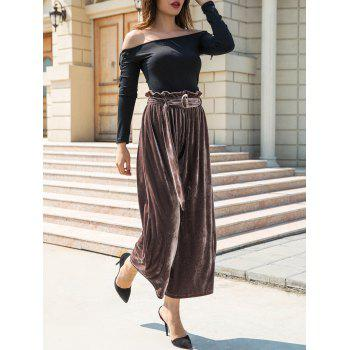 Velvet Belted Wide Leg Pants - BROWN S