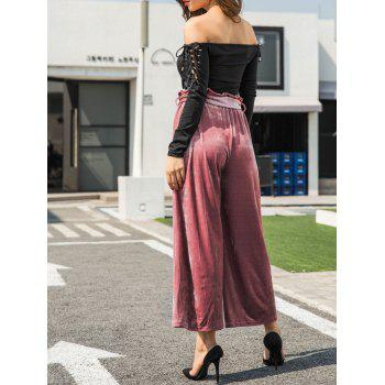 Velvet Belted Wide Leg Pants - PINK XL
