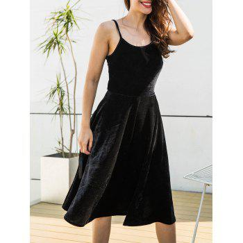 Spagetti Strap Back Lace Up Velvet Dress - BLACK L