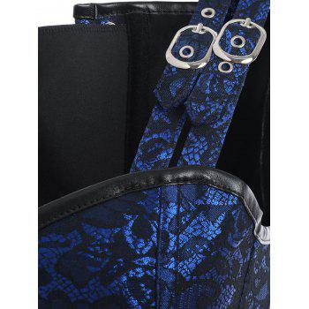 Steel Boned Brocade Corset Vest - BLUE M