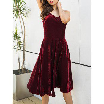 Spagetti Strap Back Lace Up Velvet Dress - WINE RED M
