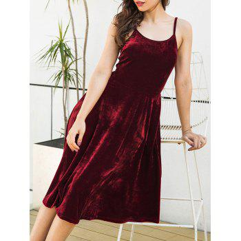 Spagetti Strap Back Lace Up Velvet Dress - WINE RED S