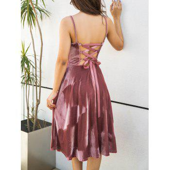Spagetti Strap Back Lace Up Velvet Dress - PINK PINK