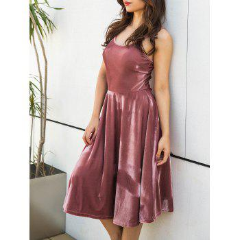 Spagetti Strap Back Lace Up Velvet Dress - PINK M