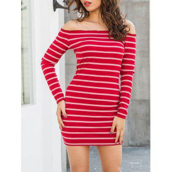 Stripe Off The Shoulder Mini Dress - RED RED