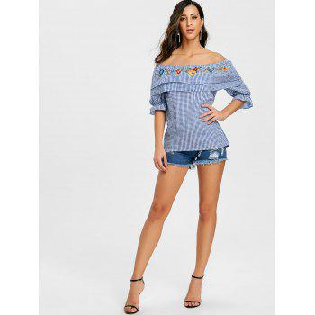 Ruffled Off The Shoulder Plaid Blouse - BLUE M