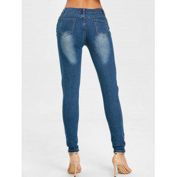 Knee Distressed Skinny Jeans - CERULEAN 2XL