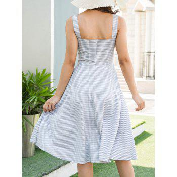 Lace Up Sweetheart Neck Gingham Dress - BLUE XL