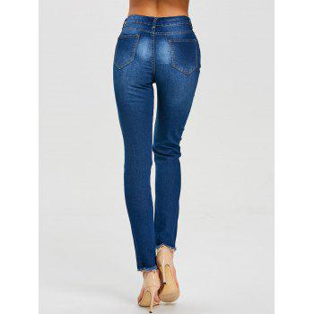 Skinny Ripped High Waisted Jeans - DEEP BLUE S
