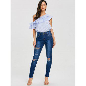 Skinny High Rise Distressed Jeans - DEEP BLUE L
