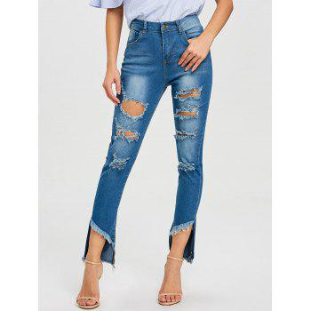High Waisted Frayed Ripped Jeans - BLUE BLUE