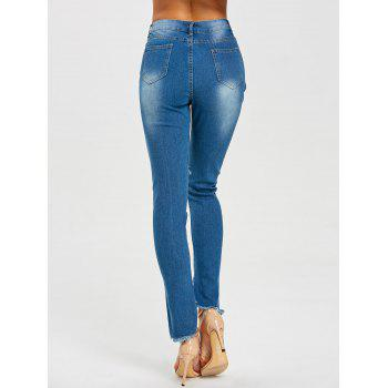 High Waisted Frayed Ripped Jeans - BLUE 2XL