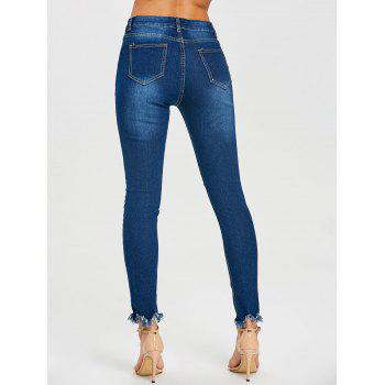 Frayed Skinny Distressed Jeans - BLUE L
