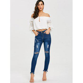 Skinny Ripped Frayed Jeans - BLUE 2XL
