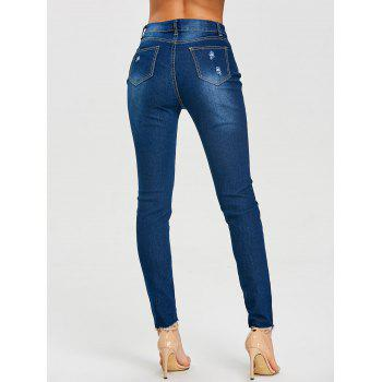 Skinny High Rise Frayed Ripped Jeans - DEEP BLUE DEEP BLUE