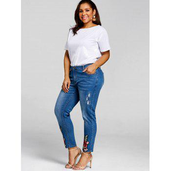 Plus Size Embroidery Jeans - DENIM BLUE 5XL
