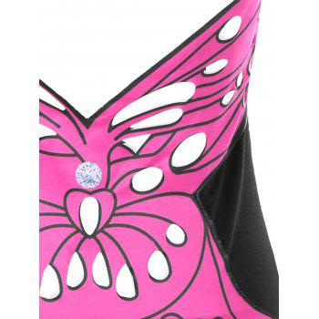 Halter Butterfly Pattern Open Back Tank Top - BLACK BLACK