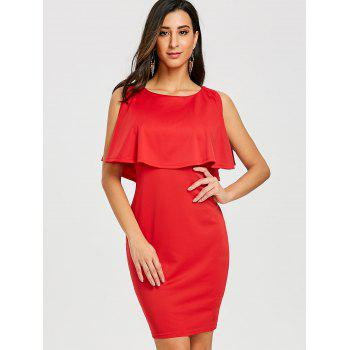 Scoop Neck Caplet Dress - RED L