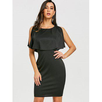 Scoop Neck Caplet Dress - BLACK M