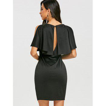 Open Back Caplet Dress - BLACK S
