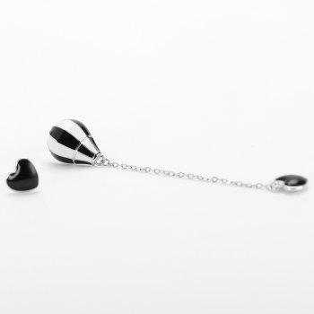 Valentine's Day Irregular Heart and Hot Air Balloon Earrings - BLACK