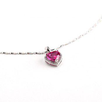 Valentines Day Gift Silver Heart Pendant Necklace - RED
