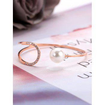 Valentine's Day Faux Pearl Metal Cuff Bracelet - ROSE GOLD